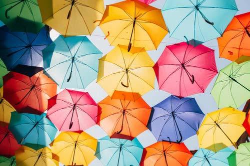 Unbrellas of many colors