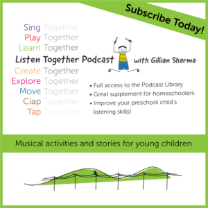 Listen Together Podcast with Gillian Sharma: Musical activities and stories for young children. Subscribe today. (shows boy jumping with sticks and rolling green hills with crow sitting on power pole)