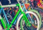 Row of colorful parked bicycles